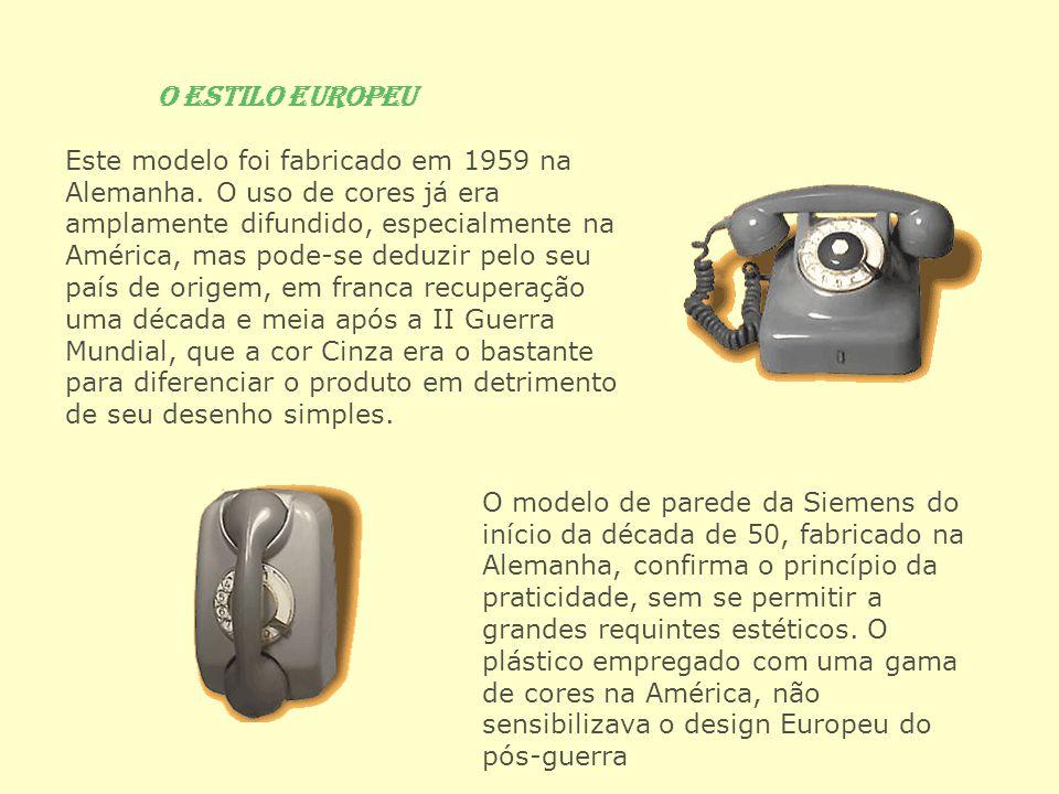 O Estilo Europeu Este modelo foi fabricado em 1959 na Alemanha. O uso de cores já era amplamente difundido, especialmente na América, mas pode-se dedu