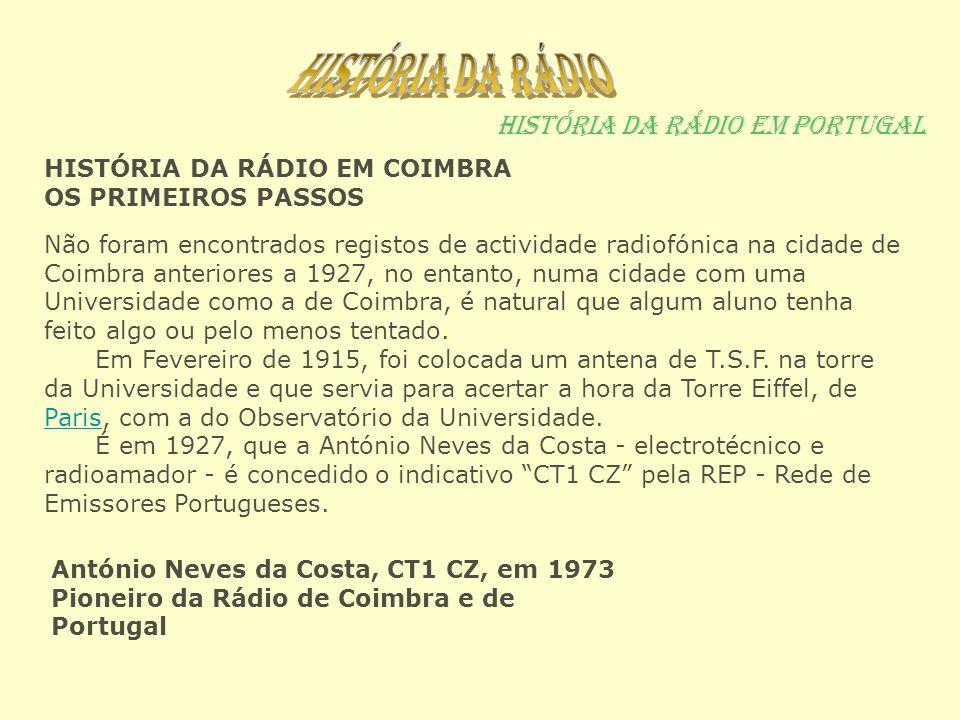 História da rádio em Portugal Não foram encontrados registos de actividade radiofónica na cidade de Coimbra anteriores a 1927, no entanto, numa cidade