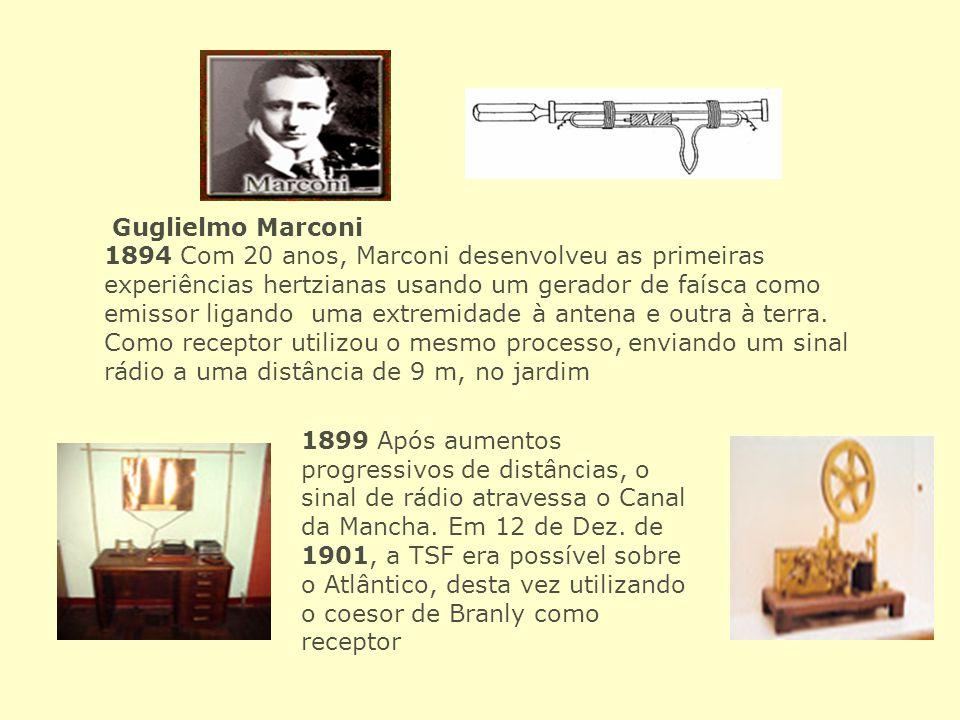 Guglielmo Marconi 1894 Com 20 anos, Marconi desenvolveu as primeiras experiências hertzianas usando um gerador de faísca como emissor ligando uma extr