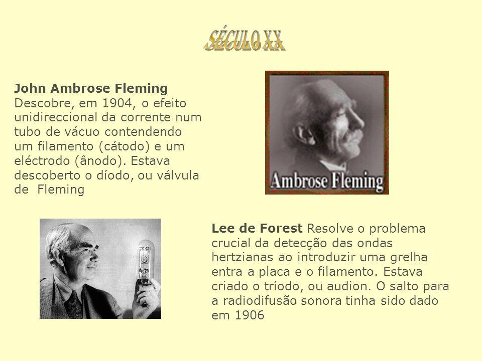 John Ambrose Fleming Descobre, em 1904, o efeito unidireccional da corrente num tubo de vácuo contendendo um filamento (cátodo) e um eléctrodo (ânodo)