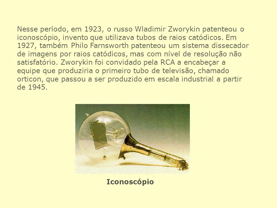 Nesse período, em 1923, o russo Wladimir Zworykin patenteou o iconoscópio, invento que utilizava tubos de raios catódicos. Em 1927, também Philo Farns