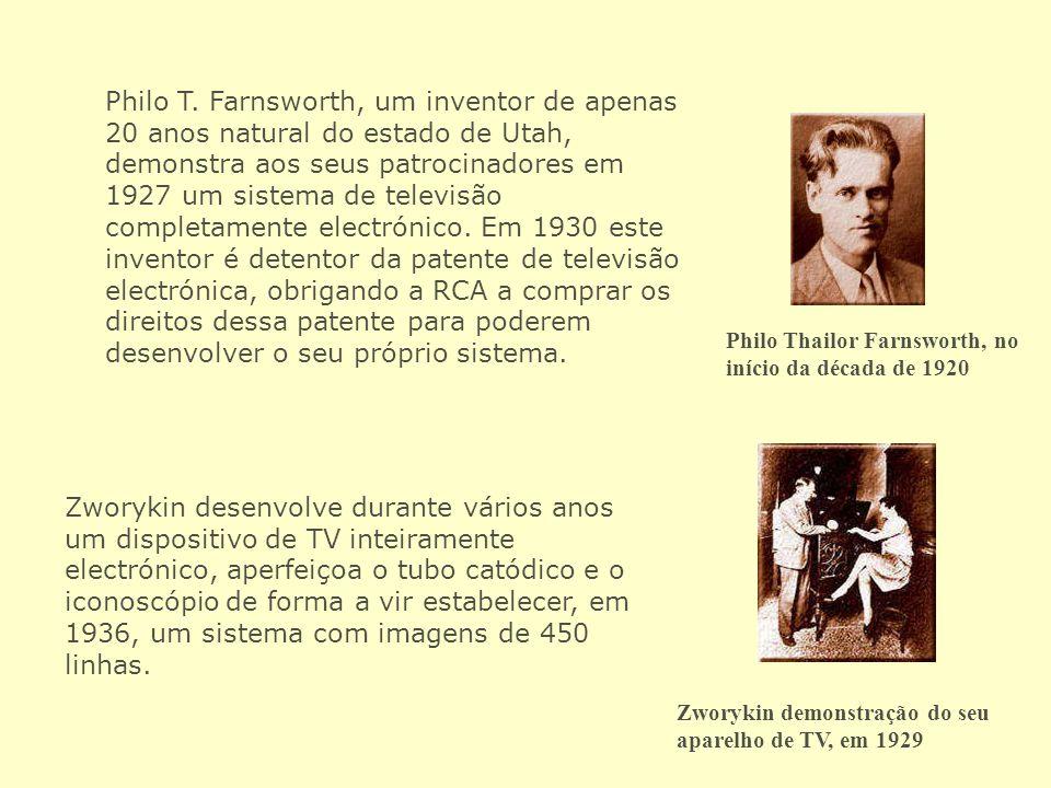 Philo T. Farnsworth, um inventor de apenas 20 anos natural do estado de Utah, demonstra aos seus patrocinadores em 1927 um sistema de televisão comple