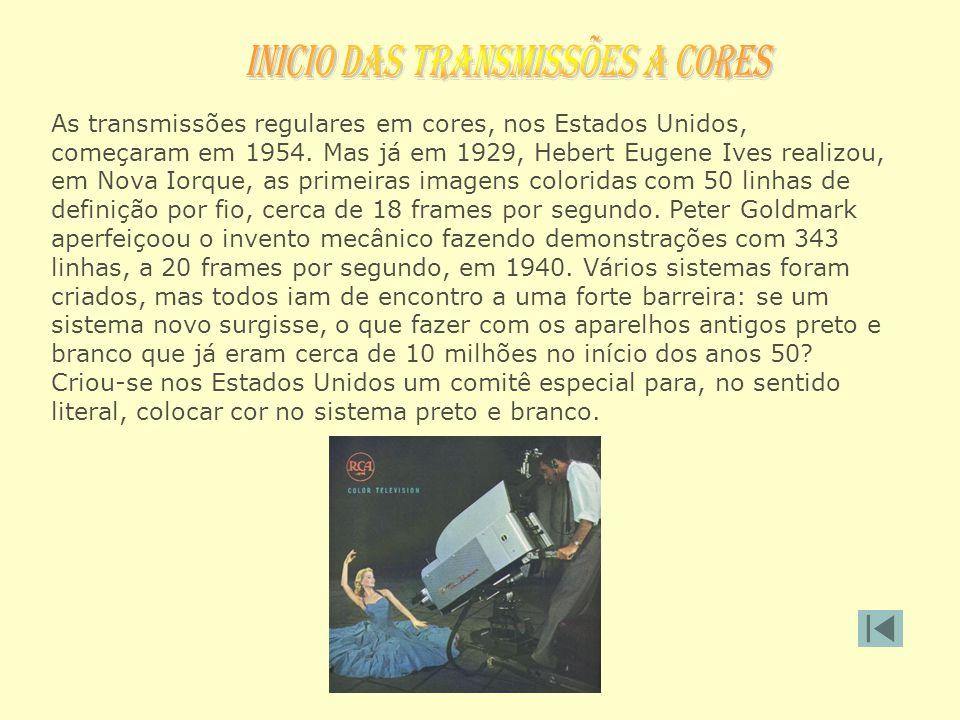As transmissões regulares em cores, nos Estados Unidos, começaram em 1954. Mas já em 1929, Hebert Eugene Ives realizou, em Nova Iorque, as primeiras i