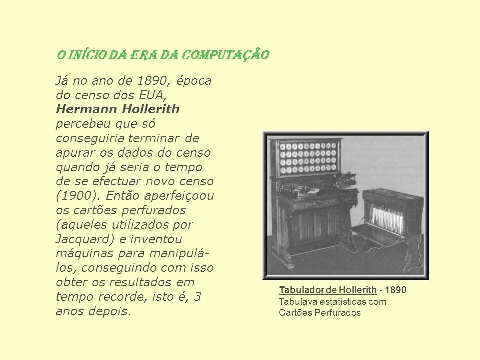 O Início da Era da Computação Já no ano de 1890, época do censo dos EUA, Hermann Hollerith percebeu que só conseguiria terminar de apurar os dados do