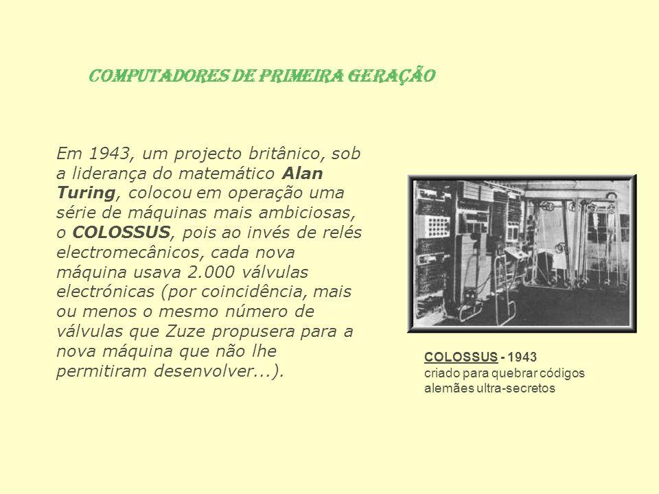 Em 1943, um projecto britânico, sob a liderança do matemático Alan Turing, colocou em operação uma série de máquinas mais ambiciosas, o COLOSSUS, pois
