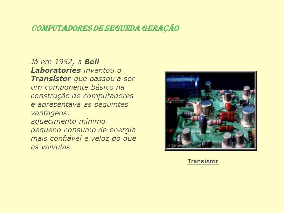 Já em 1952, a Bell Laboratories inventou o Transístor que passou a ser um componente básico na construção de computadores e apresentava as seguintes v
