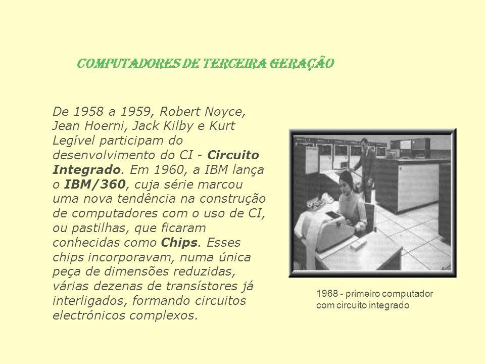 Computadores de Quarta Geração Na década de 80, foi criado o IC LSI - Integrantes Circuit Large Scale Integration, ou seja, Circuito Integrado em Larga Escala de Integração , onde foram desenvolvidas técnicas para se aumentar cada vez mais o número de componentes no mesmo circuito integrado.