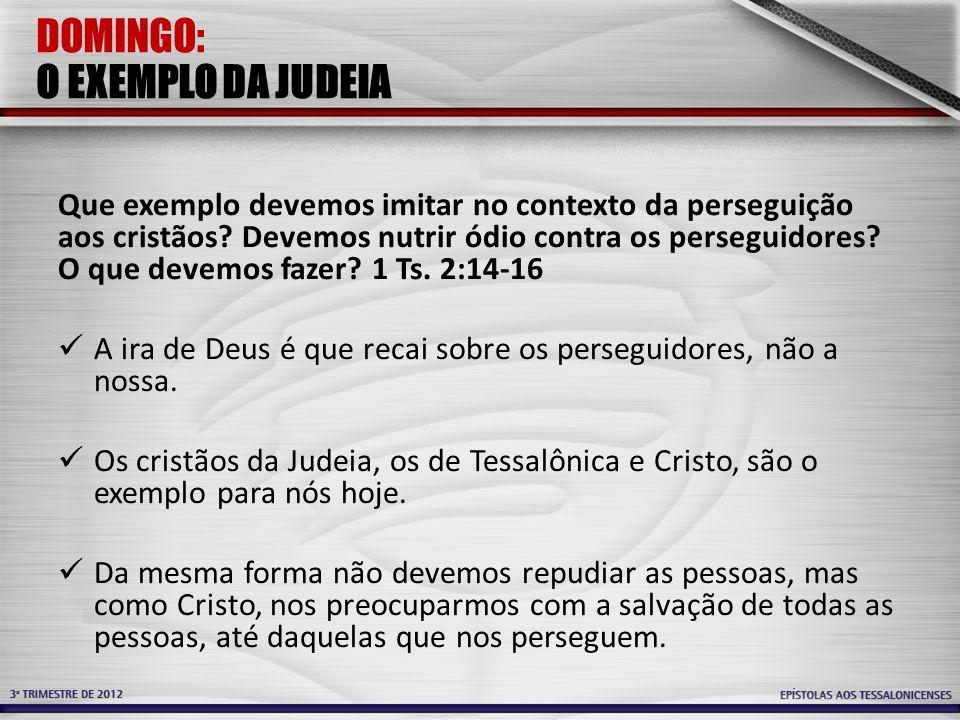 DOMINGO: O EXEMPLO DA JUDEIA Que exemplo devemos imitar no contexto da perseguição aos cristãos? Devemos nutrir ódio contra os perseguidores? O que de