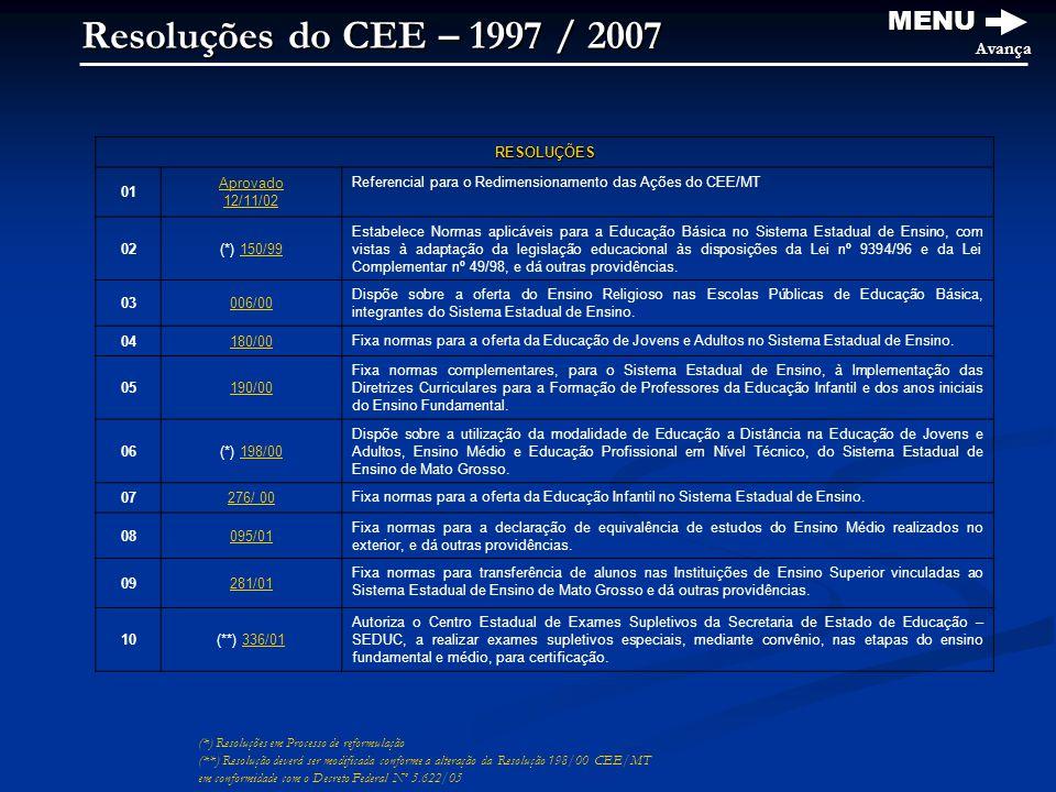 Resoluções do CEE – 1997 / 2007 MENU Avança (*) Resoluções em Processo de reformulação (**) Resolução deverá ser modificada conforme a alteração da Resolução 198/00 CEE/MT em conformidade com o Decreto Federal Nº 5.622/05 RESOLUÇÕES 01 Aprovado 12/11/02 Referencial para o Redimensionamento das Ações do CEE/MT 02(*) 150/99150/99 Estabelece Normas aplicáveis para a Educação Básica no Sistema Estadual de Ensino, com vistas à adaptação da legislação educacional às disposições da Lei nº 9394/96 e da Lei Complementar nº 49/98, e dá outras providências.