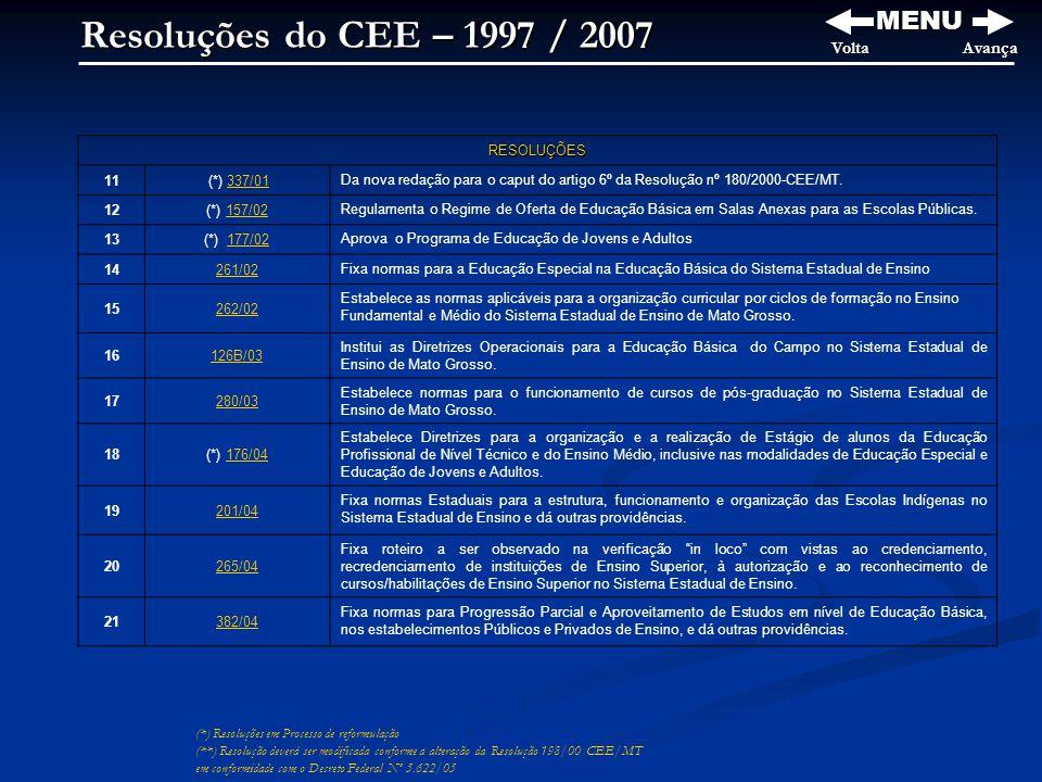 Resoluções do CEE – 1997 / 2007 MENU VoltaAvança (*) Resoluções em Processo de reformulação (**) Resolução deverá ser modificada conforme a alteração da Resolução 198/00 CEE/MT em conformidade com o Decreto Federal Nº 5.622/05 RESOLUÇÕES 11 (*) 337/01337/01 Da nova redação para o caput do artigo 6º da Resolução nº 180/2000-CEE/MT.