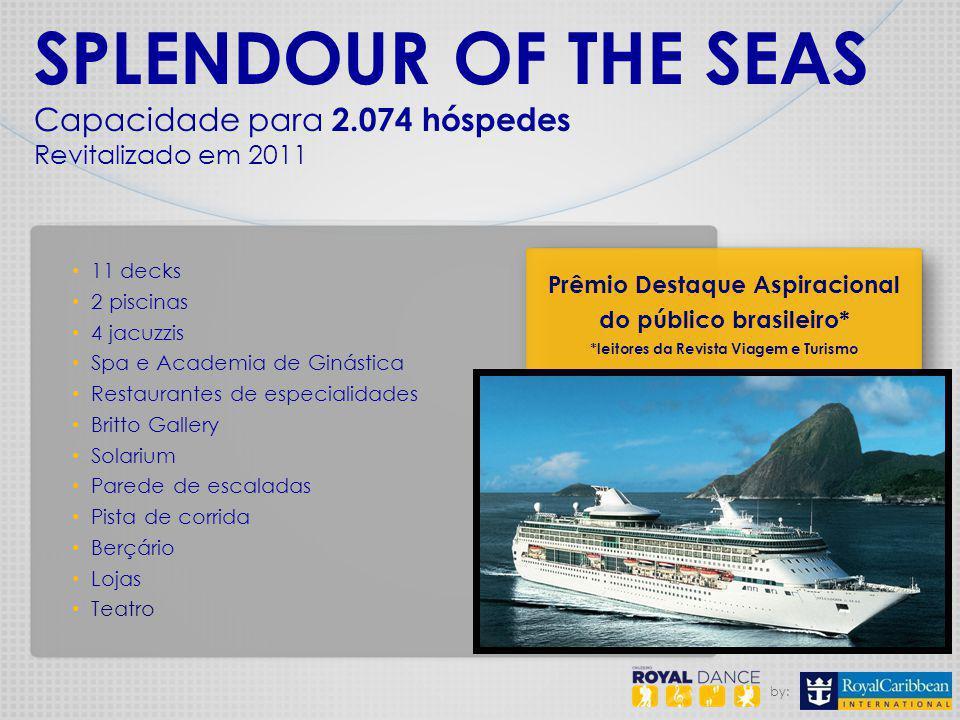 by: SPLENDOUR OF THE SEAS Capacidade para 2.074 hóspedes Revitalizado em 2011 11 decks 2 piscinas 4 jacuzzis Spa e Academia de Ginástica Restaurantes