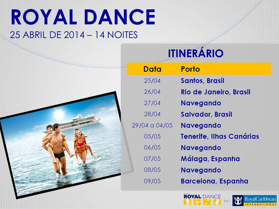 by: ITINERÁRIO ROYAL DANCE 25 ABRIL DE 2014 – 14 NOITES DataPorto 25/04 Santos, Brasil 26/04 Rio de Janeiro, Brasil 27/04 Navegando 28/04 Salvador, Br