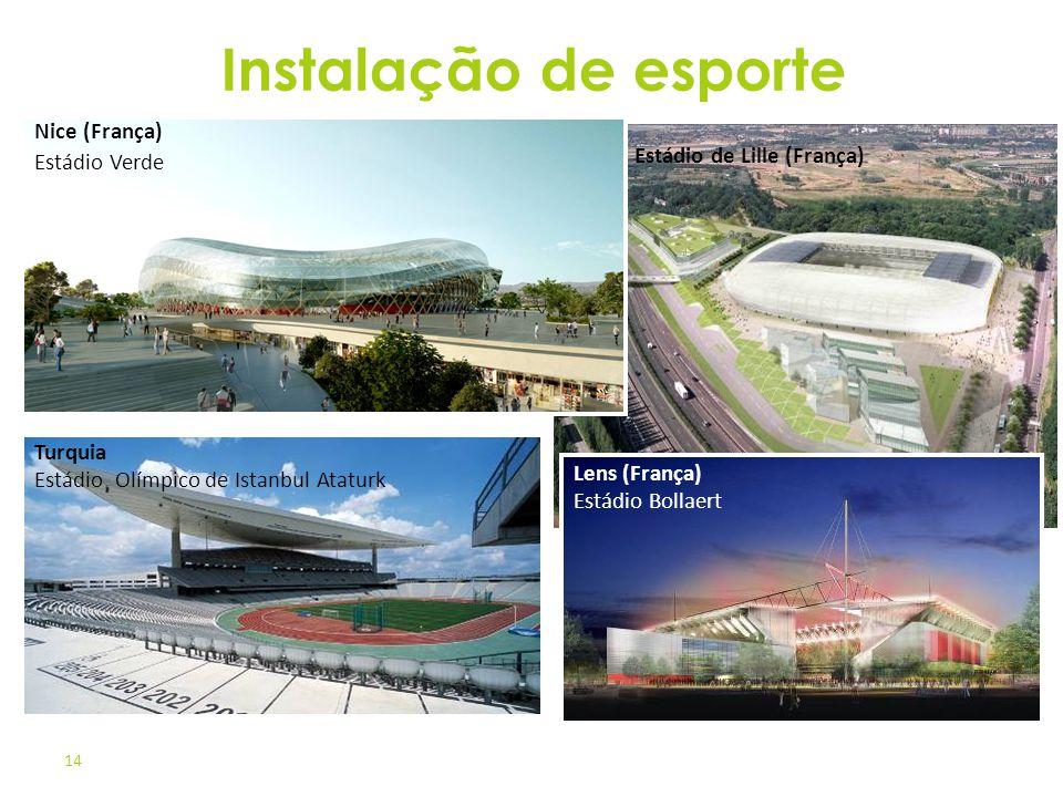 14 Estádio de Lille (França) Nice (França) Estádio Verde Lens (França) Estádio Bollaert Turquia Estádio Olímpico de Istanbul Ataturk Instalação de esp