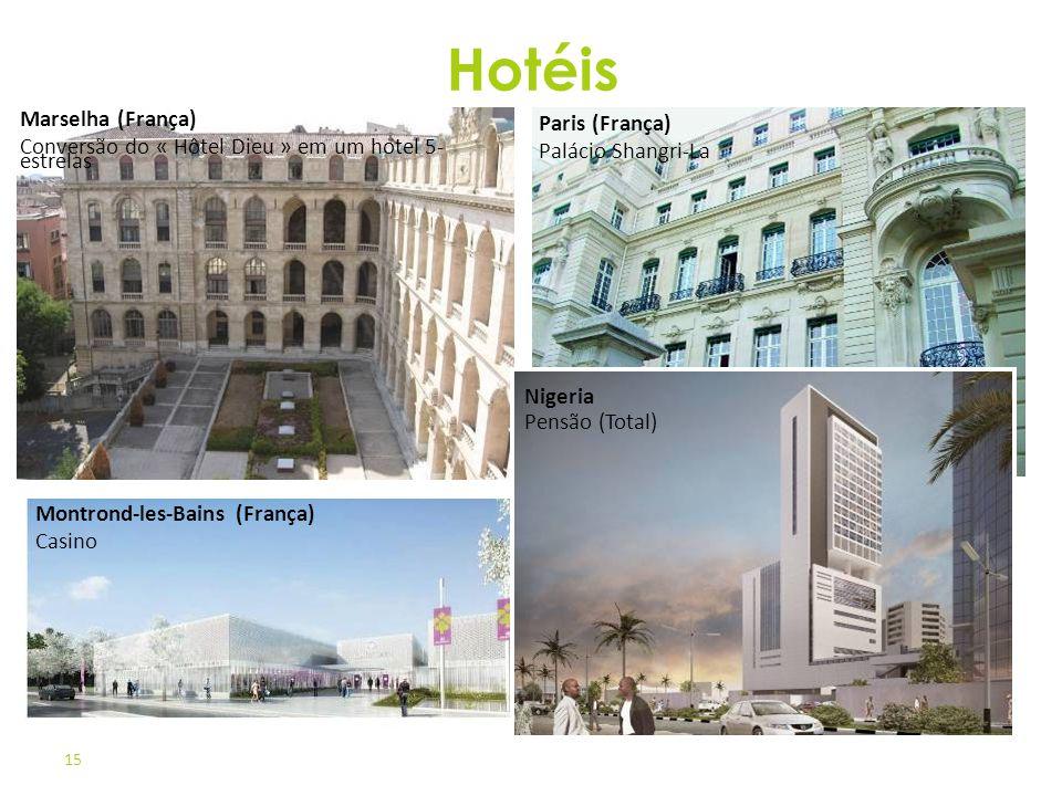 15 Paris (França) Palácio Shangri-La Montrond-les-Bains (França) Casino Nigeria Pensão (Total) Marselha (França) Conversão do « Hôtel Dieu » em um hot