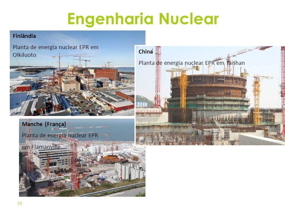 19 Finlândia Planta de energia nuclear EPR em Olkiluoto Manche (França) Planta de energia nuclear EPR em Flamanville China Planta de energia nuclear E