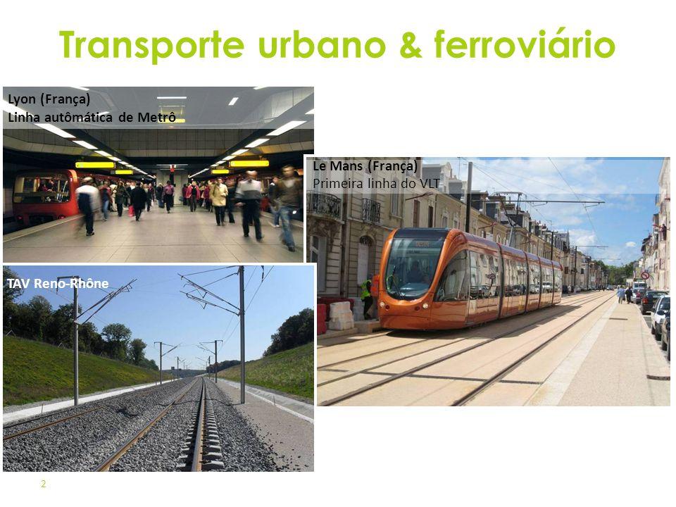 2 Lyon (França) Linha autômática de Metrô Le Mans (França) Primeira linha do VLT TAV Reno-Rhône Transporte urbano & ferroviário