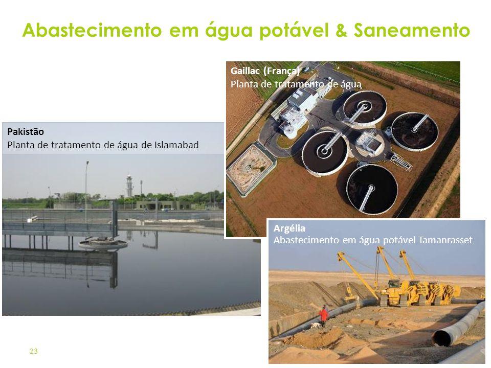 23 Pakistão Planta de tratamento de água de Islamabad Gaillac (França) Planta de tratamento de água Argélia Abastecimento em água potável Tamanrasset