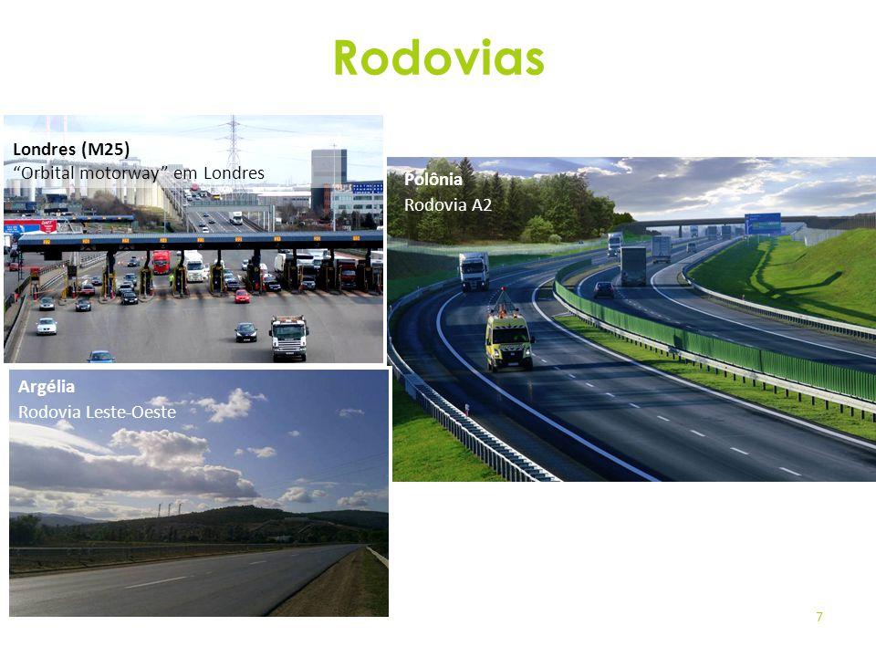 7 Londres (M25) Orbital motorway em Londres Argélia Rodovia Leste-Oeste Polônia Rodovia A2 Rodovias