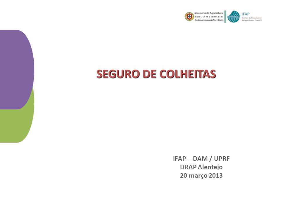 IFAP – DAM / UPRF DRAP Alentejo 20 março 2013 SEGURO DE COLHEITAS