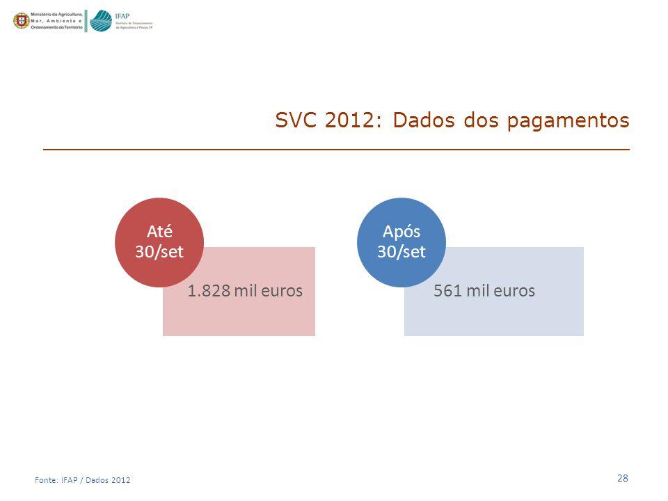 28 SVC 2012: Dados dos pagamentos 1.828 mil euros Até 30/set 561 mil euros Após 30/set Fonte: IFAP / Dados 2012