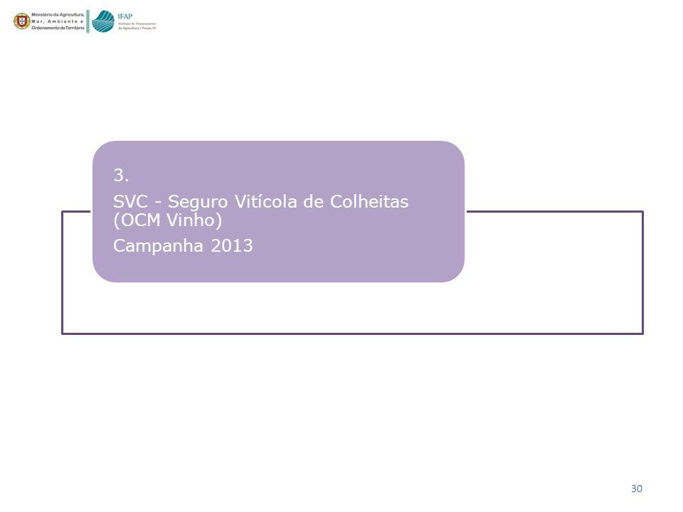 30 3. SVC - Seguro Vitícola de Colheitas (OCM Vinho) Campanha 2013