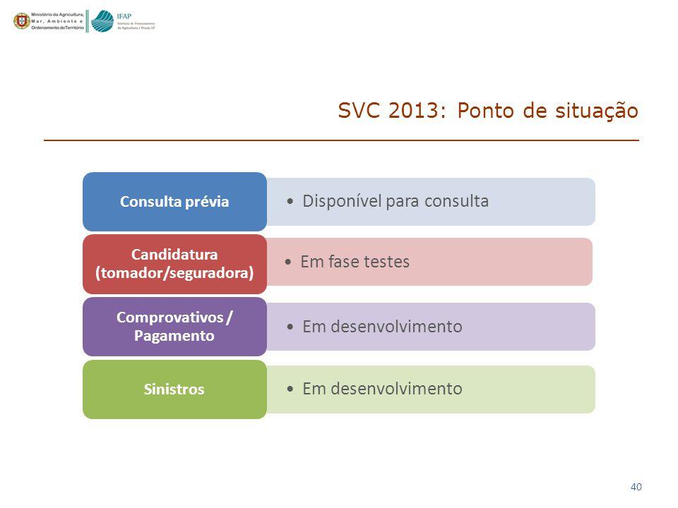 40 SVC 2013: Ponto de situação Disponível para consulta Consulta prévia Em fase testes Candidatura (tomador/seguradora) Em desenvolvimento Comprovativos / Pagamento Em desenvolvimento Sinistros