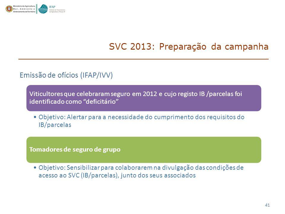 41 SVC 2013: Preparação da campanha Viticultores que celebraram seguro em 2012 e cujo registo IB /parcelas foi identificado como deficitário Objetivo: Alertar para a necessidade do cumprimento dos requisitos do IB/parcelas Tomadores de seguro de grupo Objetivo: Sensibilizar para colaborarem na divulgação das condições de acesso ao SVC (IB/parcelas), junto dos seus associados Emissão de ofícios (IFAP/IVV)
