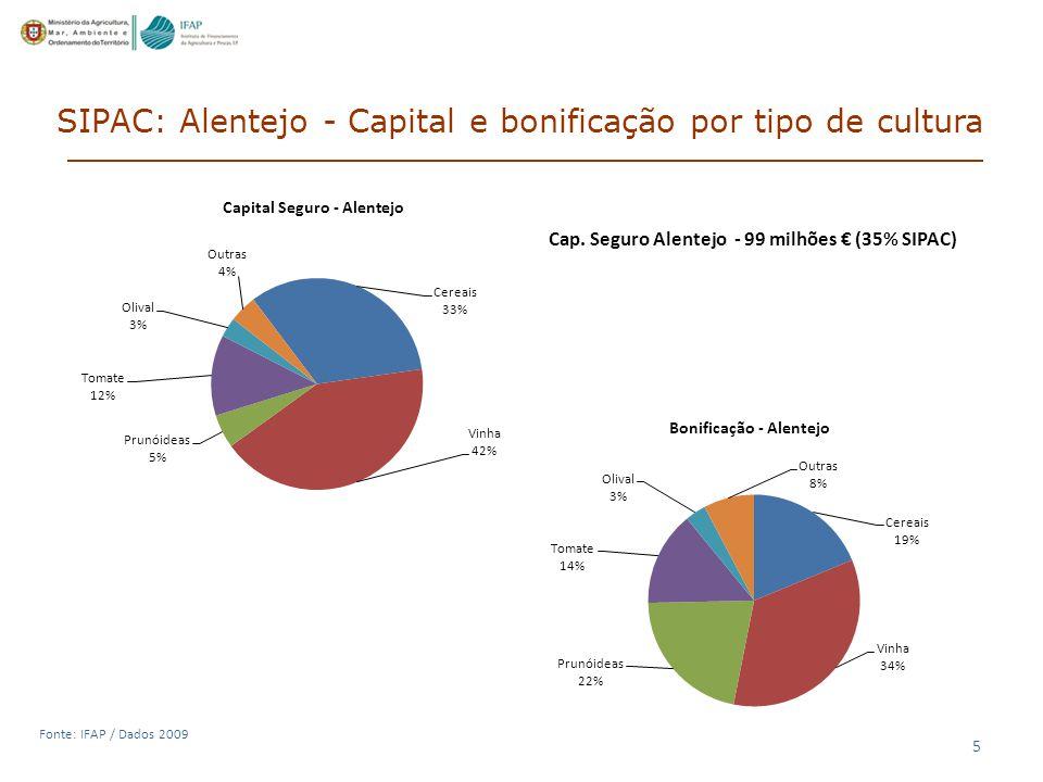 5 Fonte: IFAP / Dados 2009 SIPAC: Alentejo - Capital e bonificação por tipo de cultura Cap.