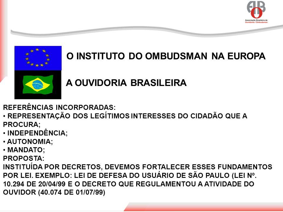 O INSTITUTO DO OMBUDSMAN NA EUROPA A OUVIDORIA BRASILEIRA REFERÊNCIAS INCORPORADAS: REPRESENTAÇÃO DOS LEGÍTIMOS INTERESSES DO CIDADÃO QUE A PROCURA; I