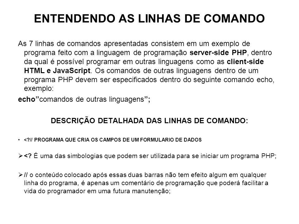 ENTENDENDO AS LINHAS DE COMANDO As 7 linhas de comandos apresentadas consistem em um exemplo de programa feito com a linguagem de programação server-s