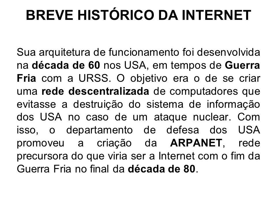 BREVE HISTÓRICO DA INTERNET Sua arquitetura de funcionamento foi desenvolvida na década de 60 nos USA, em tempos de Guerra Fria com a URSS. O objetivo
