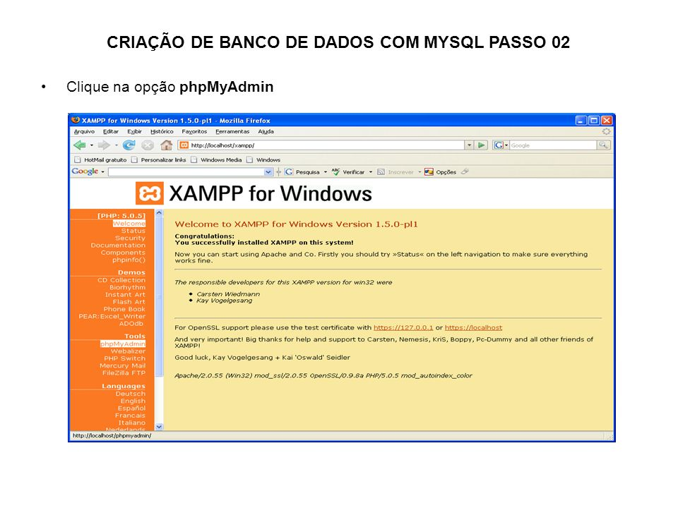 Clique na opção phpMyAdmin CRIAÇÃO DE BANCO DE DADOS COM MYSQL PASSO 02