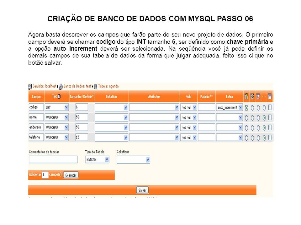 CRIAÇÃO DE BANCO DE DADOS COM MYSQL PASSO 06 Agora basta descrever os campos que farão parte do seu novo projeto de dados. O primeiro campo deverá se