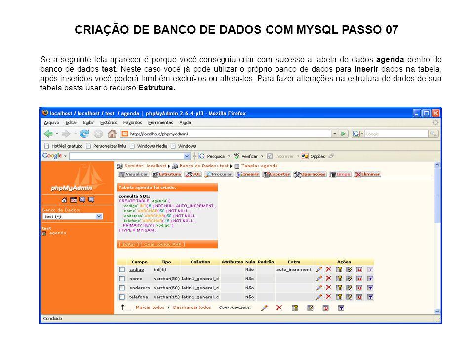 CRIAÇÃO DE BANCO DE DADOS COM MYSQL PASSO 07 Se a seguinte tela aparecer é porque você conseguiu criar com sucesso a tabela de dados agenda dentro do