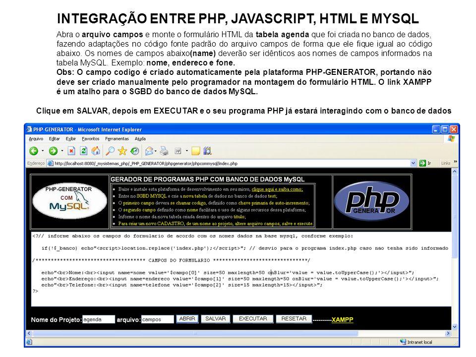 INTEGRAÇÃO ENTRE PHP, JAVASCRIPT, HTML E MYSQL Abra o arquivo campos e monte o formulário HTML da tabela agenda que foi criada no banco de dados, faze