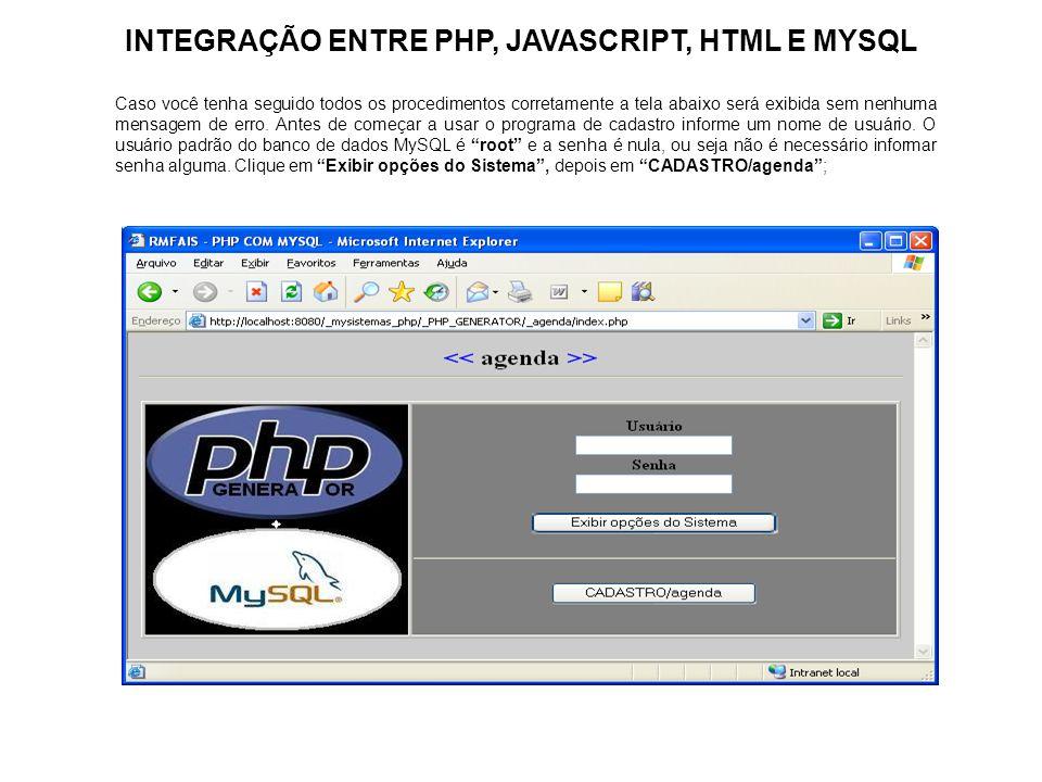 INTEGRAÇÃO ENTRE PHP, JAVASCRIPT, HTML E MYSQL Caso você tenha seguido todos os procedimentos corretamente a tela abaixo será exibida sem nenhuma mens