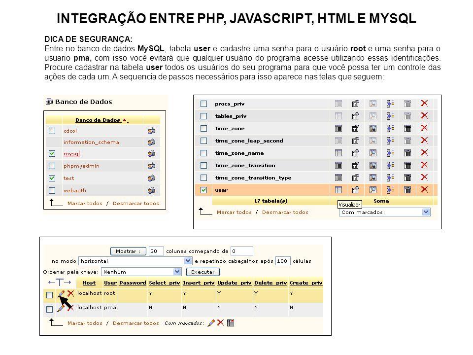 INTEGRAÇÃO ENTRE PHP, JAVASCRIPT, HTML E MYSQL DICA DE SEGURANÇA: Entre no banco de dados MySQL, tabela user e cadastre uma senha para o usuário root