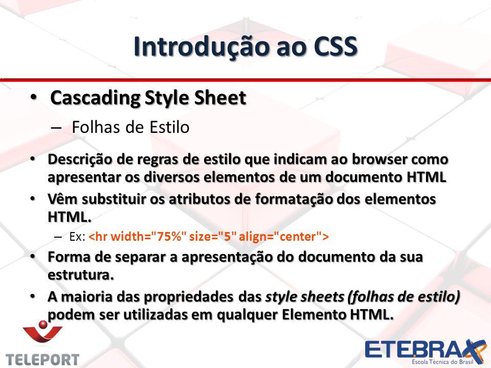 Introdução ao CSS Cascading Style Sheet Cascading Style Sheet – Folhas de Estilo Descrição de regras de estilo que indicam ao browser como apresentar os diversos elementos de um documento HTML Descrição de regras de estilo que indicam ao browser como apresentar os diversos elementos de um documento HTML Vêm substituir os atributos de formatação dos elementos HTML.
