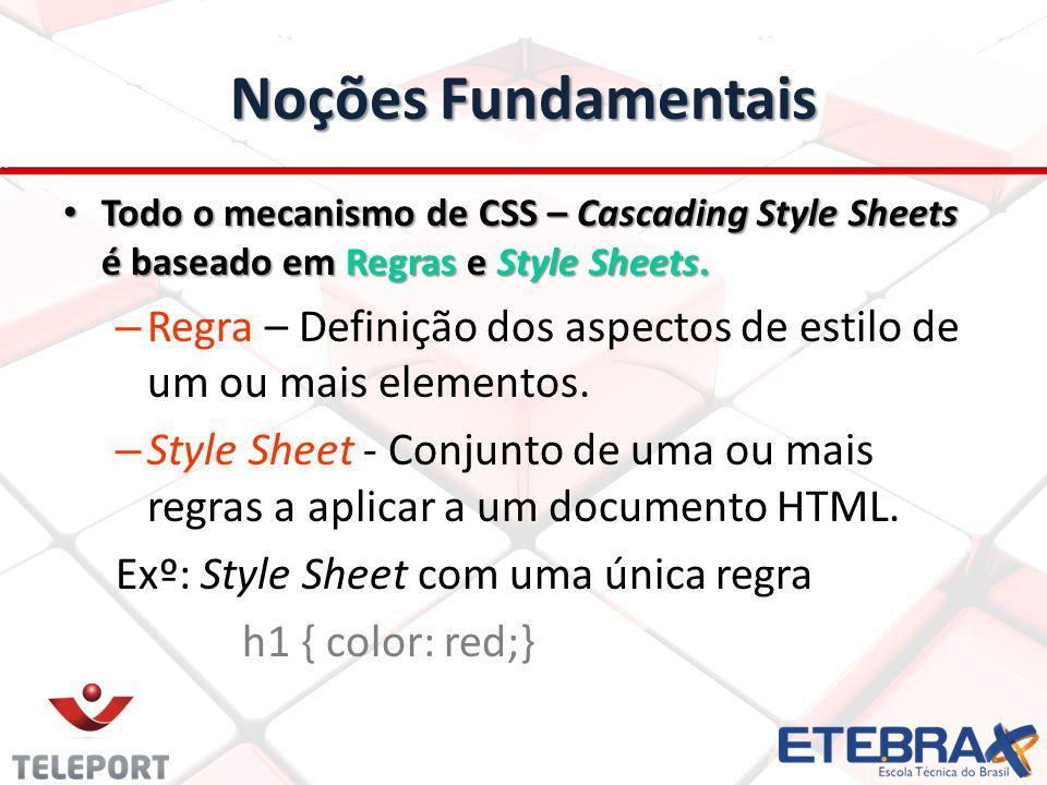 Noções Fundamentais Todo o mecanismo de CSS – Cascading Style Sheets é baseado em Regras e Style Sheets.