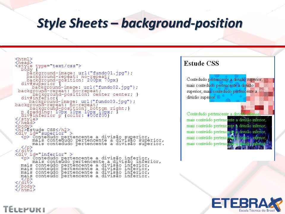 Style Sheets – background-position body { background-image: url(