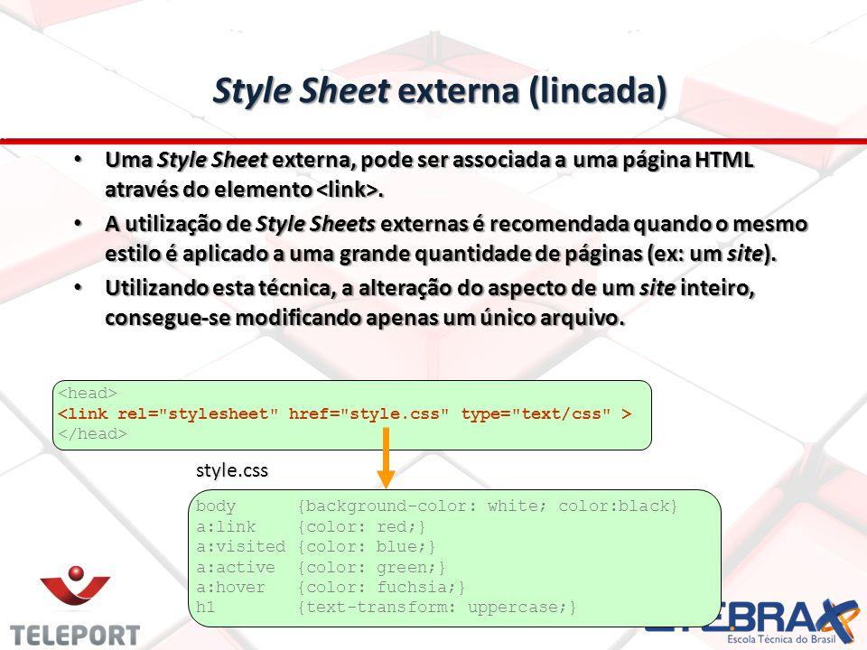 Style Sheet externa (lincada) Uma Style Sheet externa, pode ser associada a uma página HTML através do elemento.