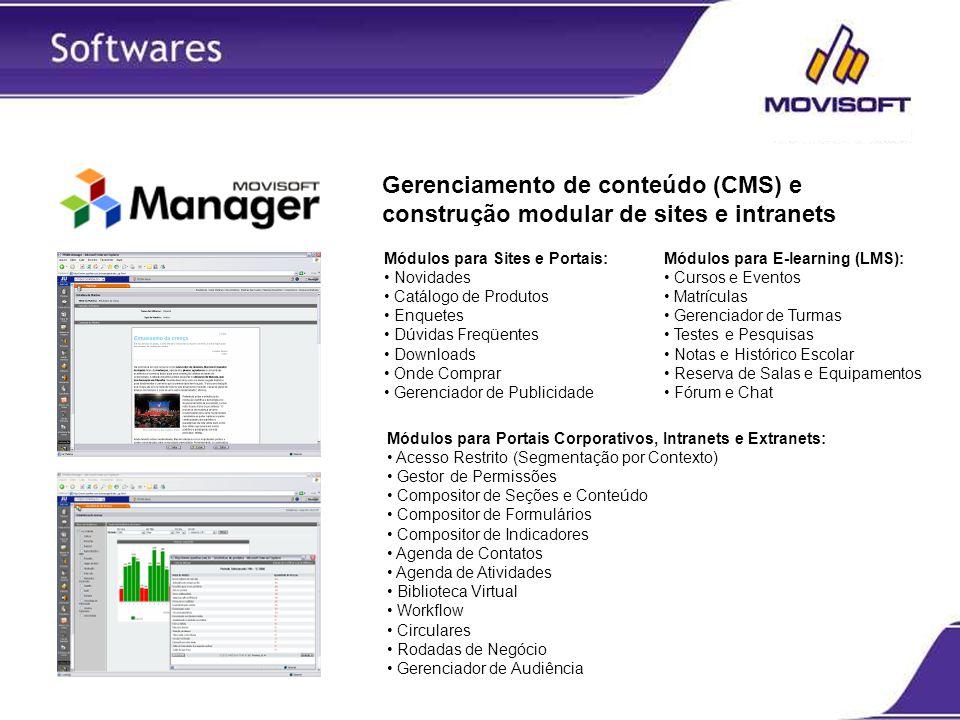 Gerenciamento de conteúdo (CMS) e construção modular de sites e intranets Módulos para Sites e Portais: Novidades Catálogo de Produtos Enquetes Dúvida