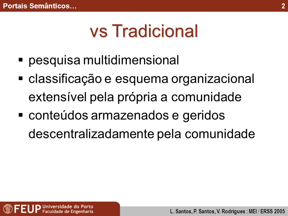 Modos de Interacção na Construção de Diagramas UML Paulo Santos & Pedro Valente : MEI 2005 3 Portais Semânticos… L.