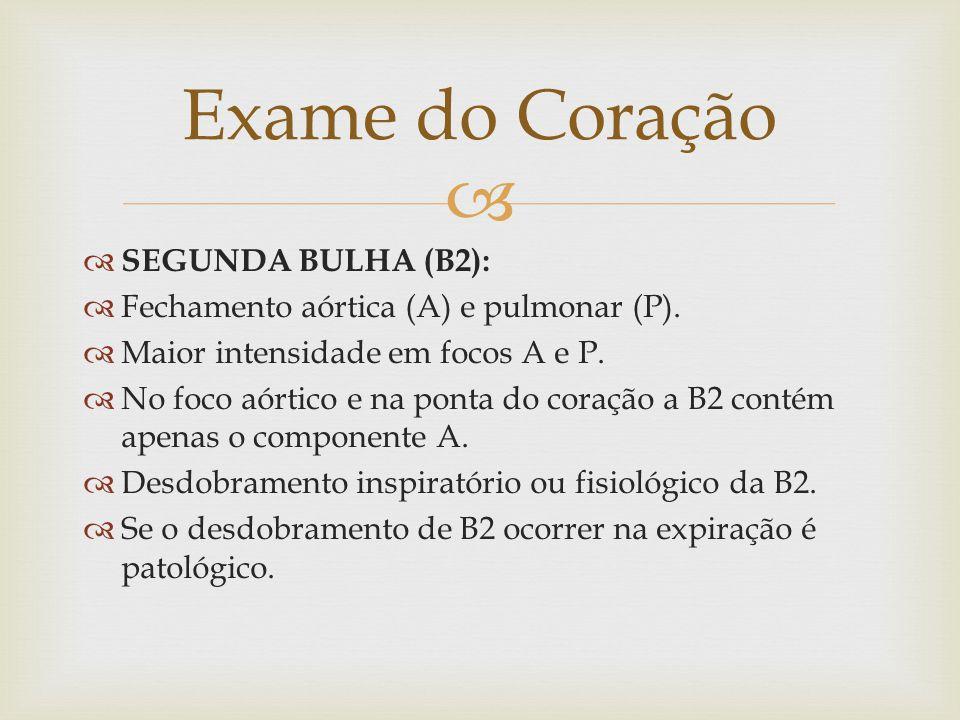 SEGUNDA BULHA (B2): Fechamento aórtica (A) e pulmonar (P).