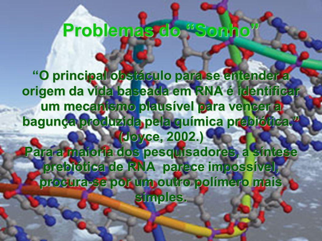 Problemas do Sonho O principal obstáculo para se entender a origem da vida baseada em RNA é identificar um mecanismo plausível para vencer a bagunça p