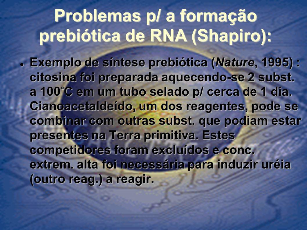 Problemas p/ a formação prebiótica de RNA (Shapiro): Exemplo de síntese prebiótica (Nature, 1995) : citosina foi preparada aquecendo-se 2 subst. a 100