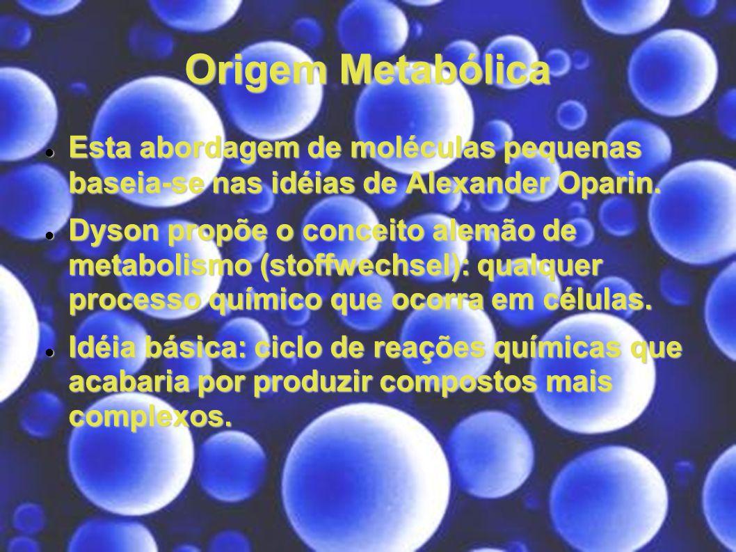 Origem Metabólica Esta abordagem de moléculas pequenas baseia-se nas idéias de Alexander Oparin. Esta abordagem de moléculas pequenas baseia-se nas id