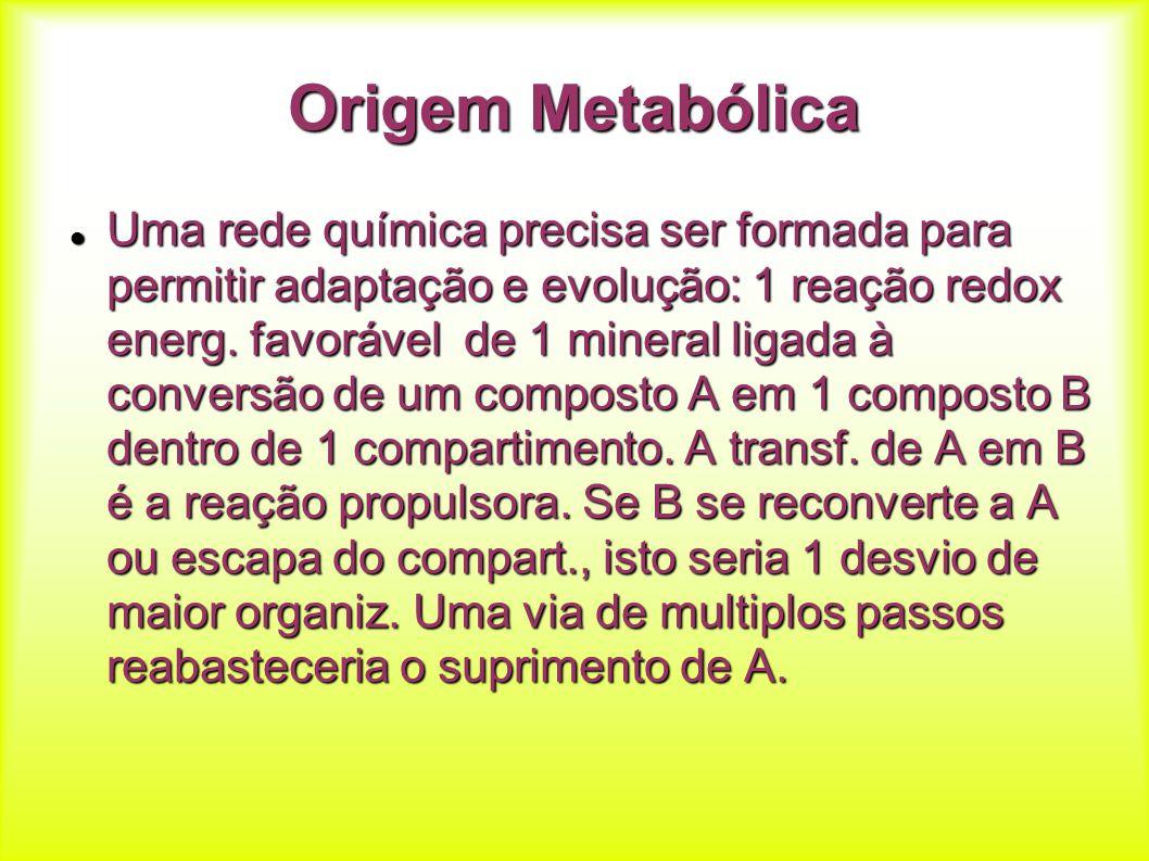 Origem Metabólica Uma rede química precisa ser formada para permitir adaptação e evolução: 1 reação redox energ. favorável de 1 mineral ligada à conve