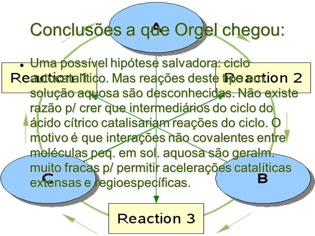 Conclusões a que Orgel chegou: Uma possível hipótese salvadora: ciclo autocatalítico. Mas reações deste tipo em solução aquosa são desconhecidas. Não