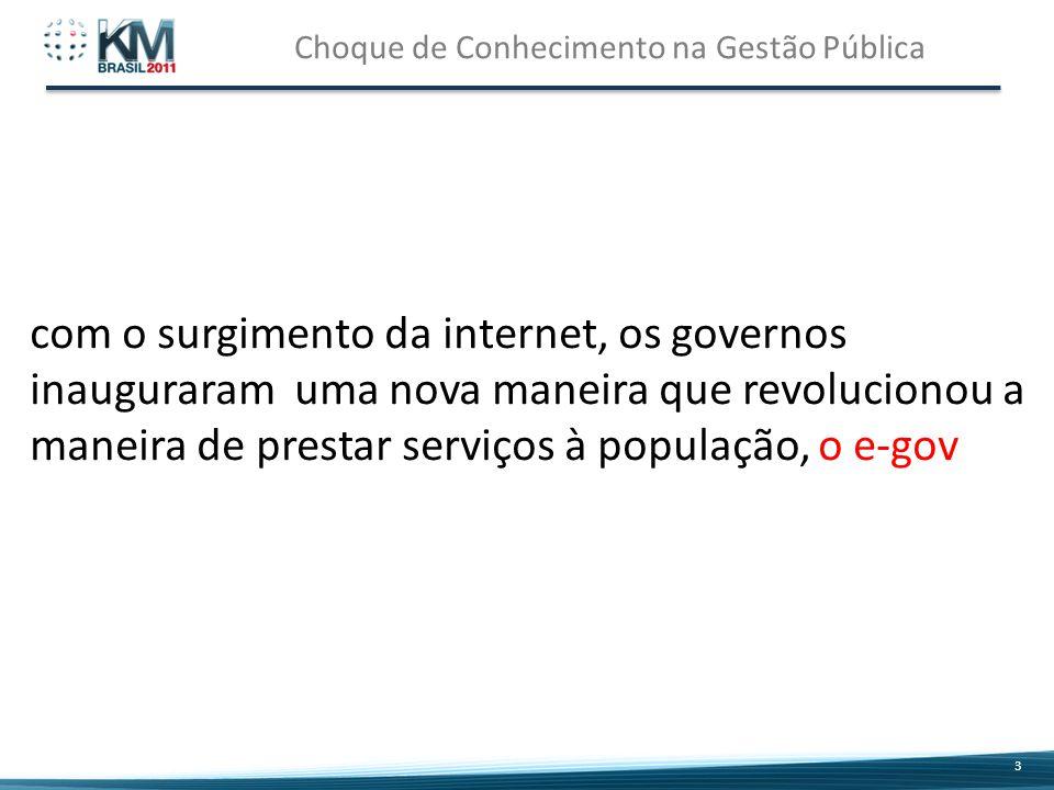 Choque de Conhecimento na Gestão Pública 3 3 com o surgimento da internet, os governos inauguraram uma nova maneira que revolucionou a maneira de prestar serviços à população, o e-gov